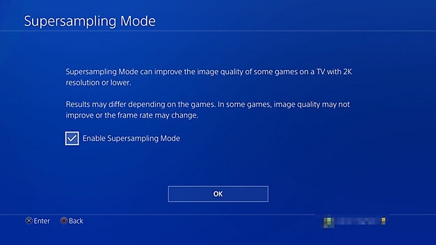 Supersampling mode on PS4 Pro