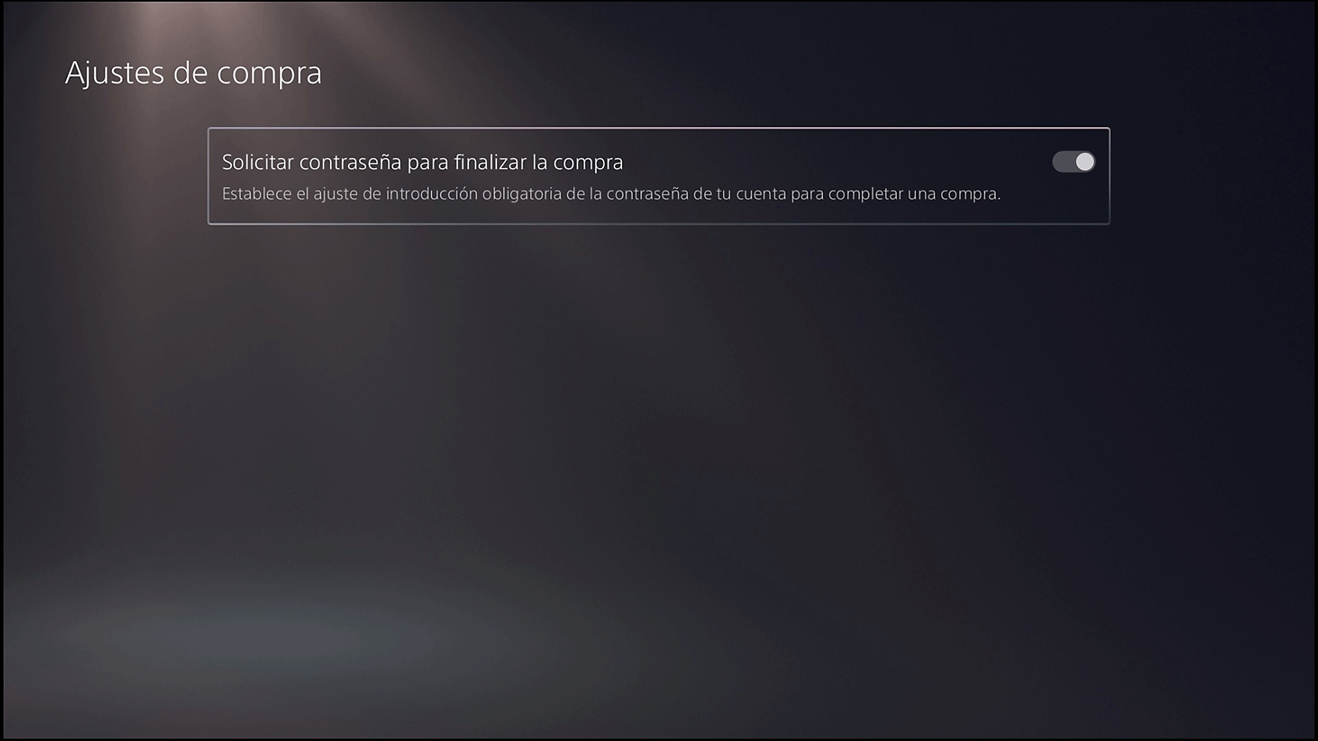 """Pantalla """"Configuración de compras"""" de PS5 con la opción """"Solicitar contraseña para finalizar la compra"""""""