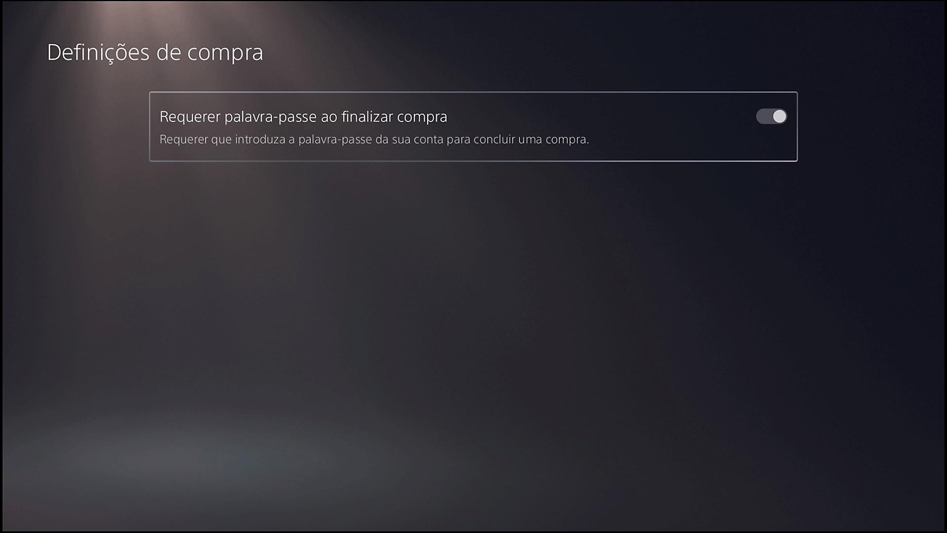Ecrã de definições de compra da PS5 com a opção Requerer palavra-passe ao finalizar compra