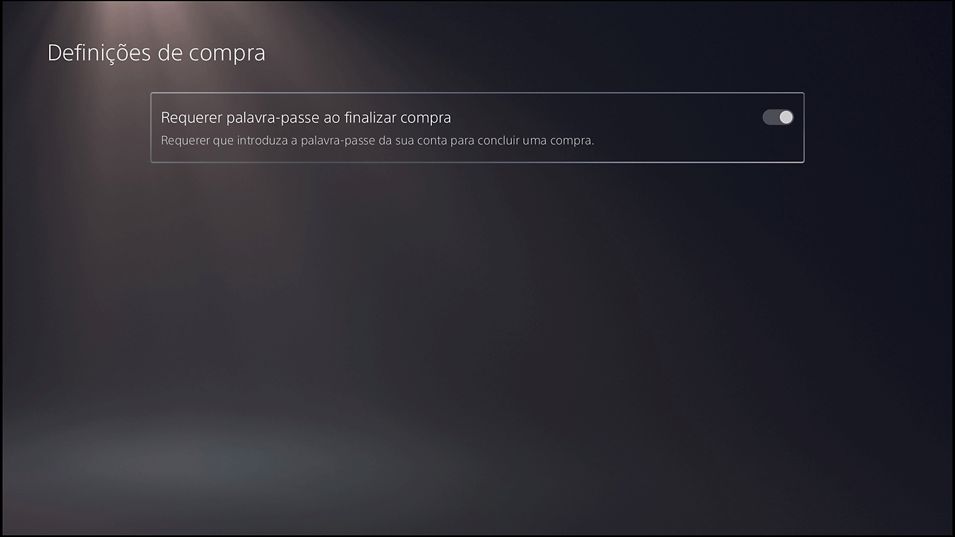 Tela de Configurações de compra com a opção Exigir senha ao finalizar a compra do PS5