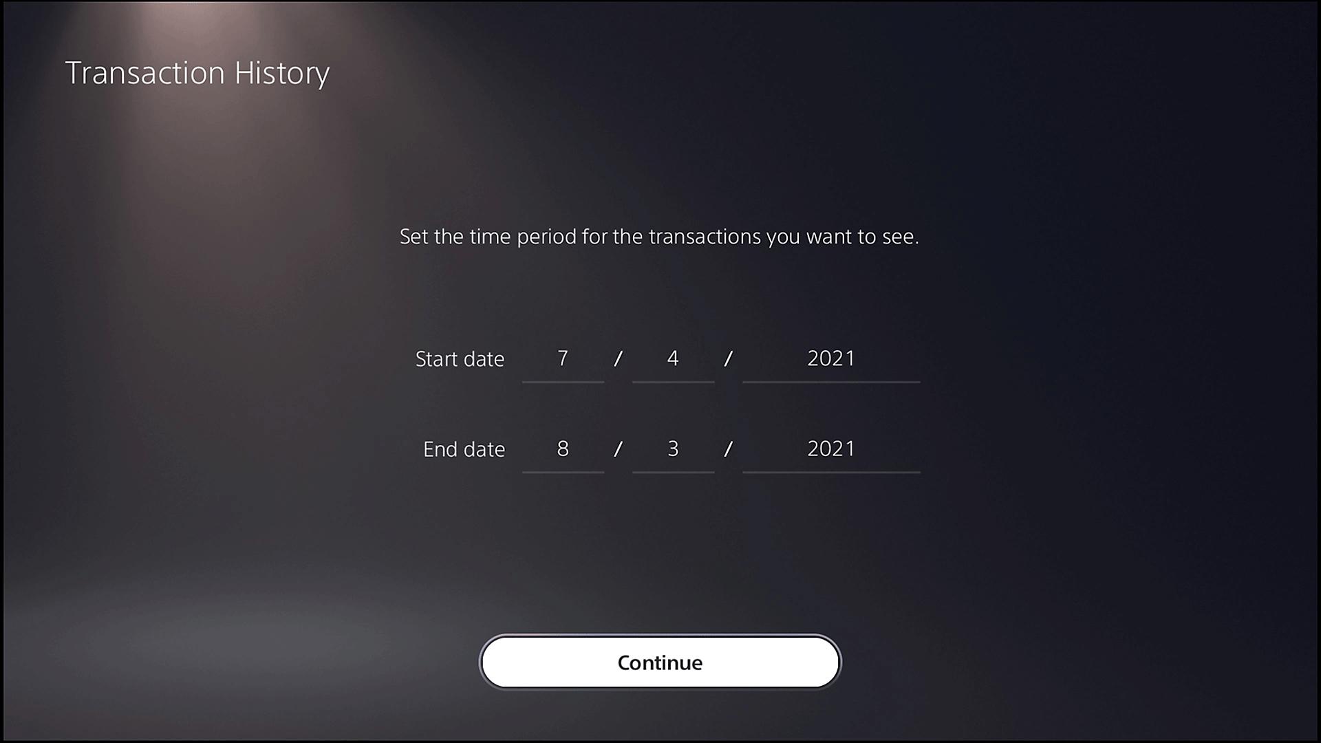 شاشة السجل التاريخي للمعاملات على PS5