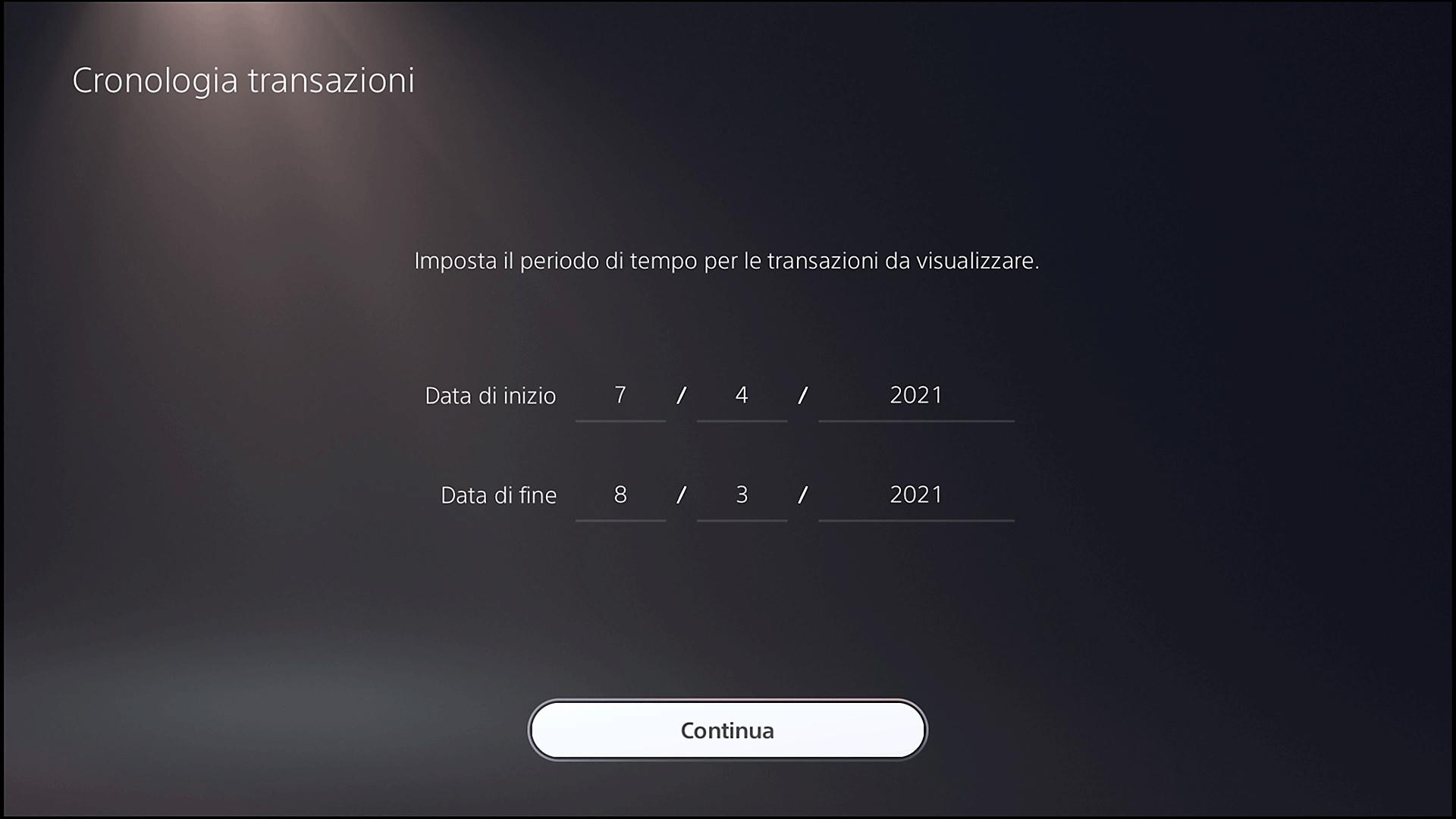 Schermata Cronologia transazioni di PS5