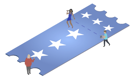 Illustration of small people standing on a large ticket