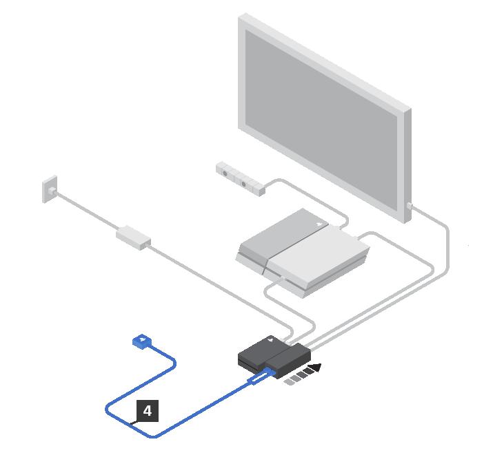 Desliza hacia atrás la cubierta de las conexiones de la unidad procesadora y enchufa el cable de conexión de VR