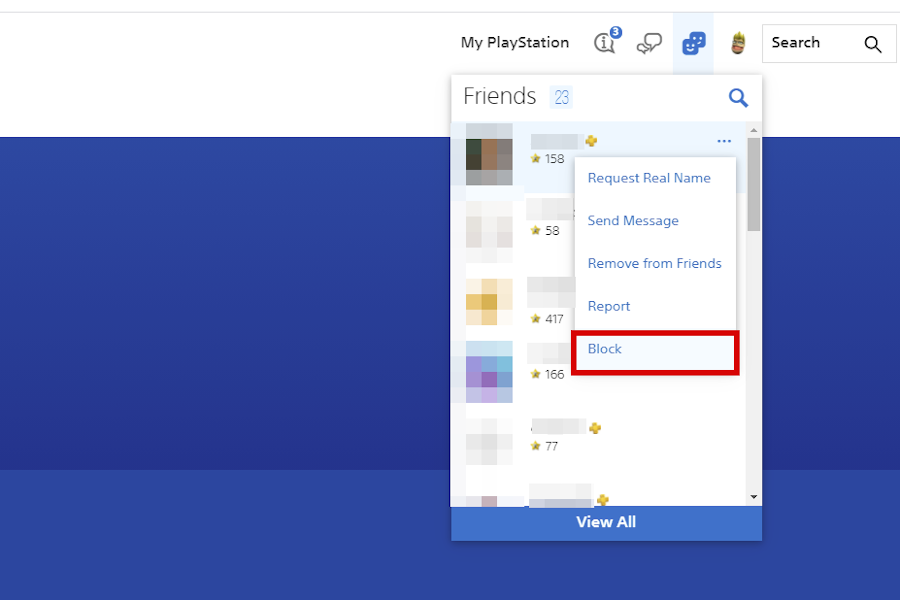 PSN 封锁玩家 - Web 浏览器