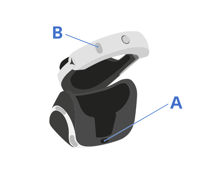 Press the power button (A) located on the underside of the PlayStation VR headset scope.