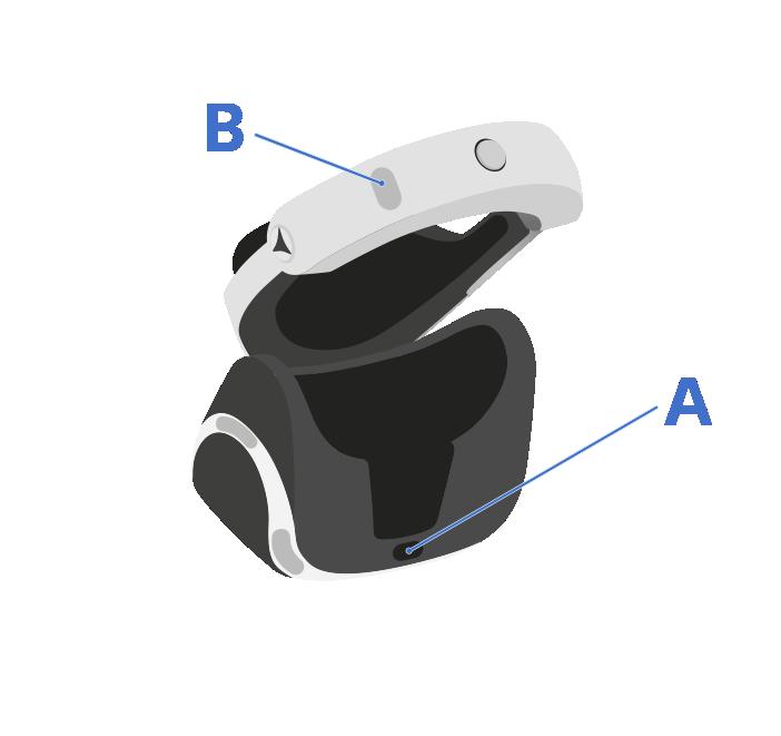 Presiona el botón de encendido (A) que se encuentra debajo del visor del casco de PlayStationVR.